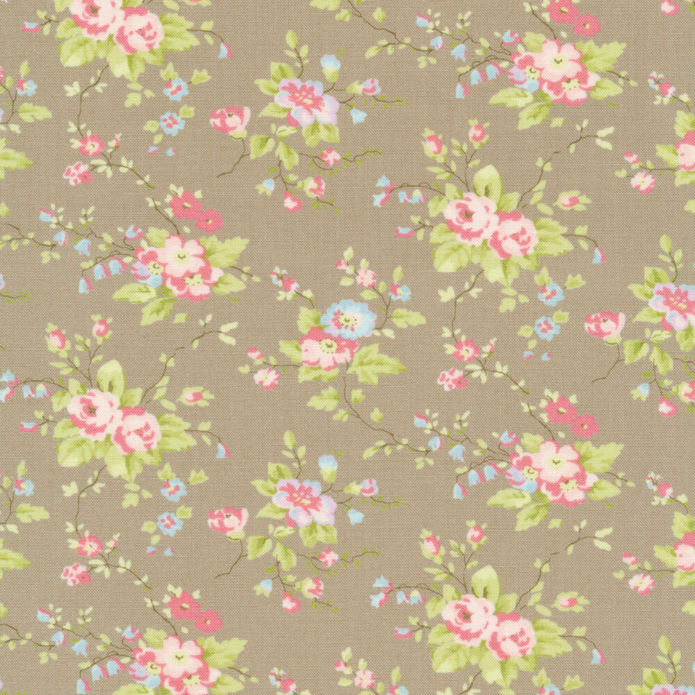 Pink and blue flowers with green leaves on taupe | Shabby Fabrics