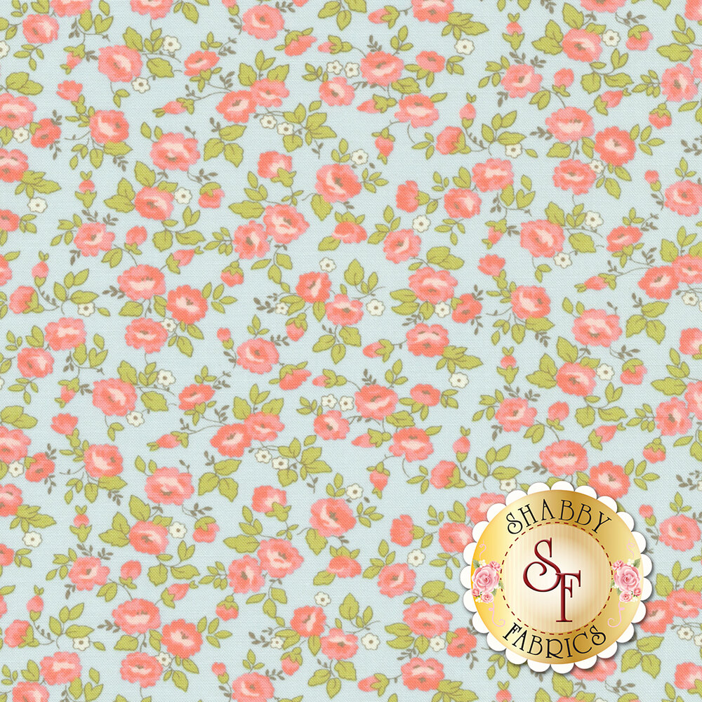 Small pink and blue flowers all over blue | Shabby Fabrics