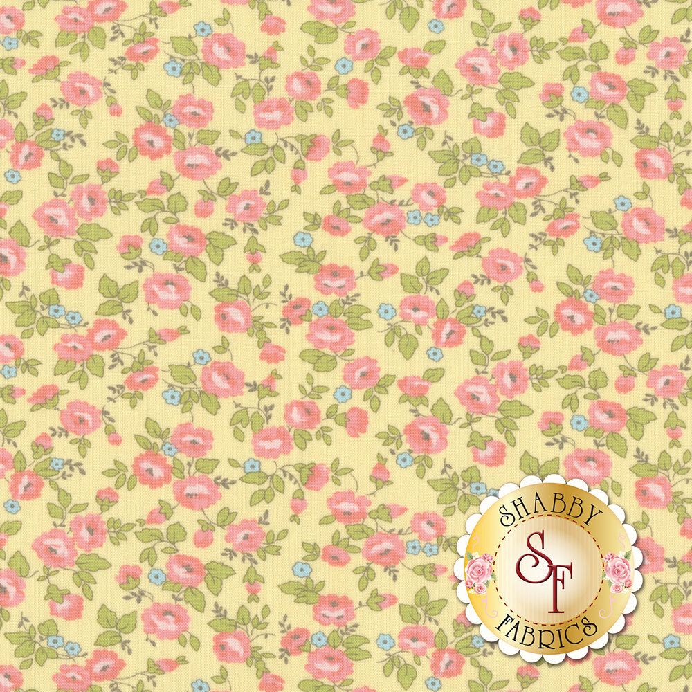 Small pink and blue flowers all over yellow | Shabby Fabrics