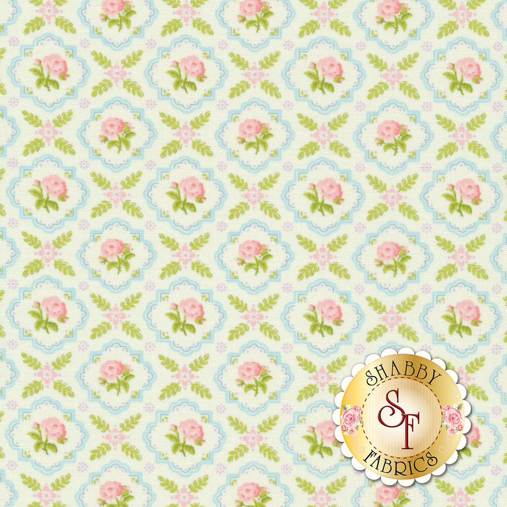 Pink flowers in blue tiles all over cream | Shabby Fabrics