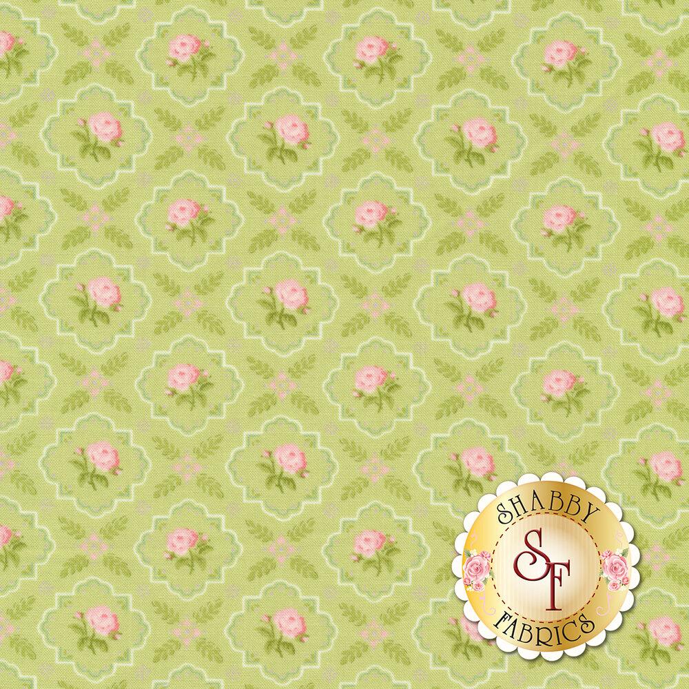 Pink flowers in tonal green tile design | Shabby Fabrics
