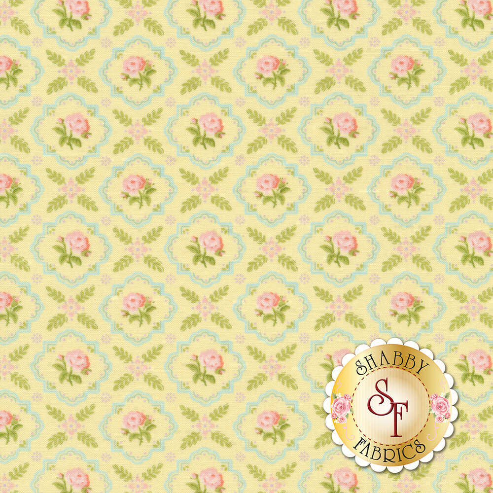 Pink flowers in blue tiles all over yellow | Shabby Fabrics