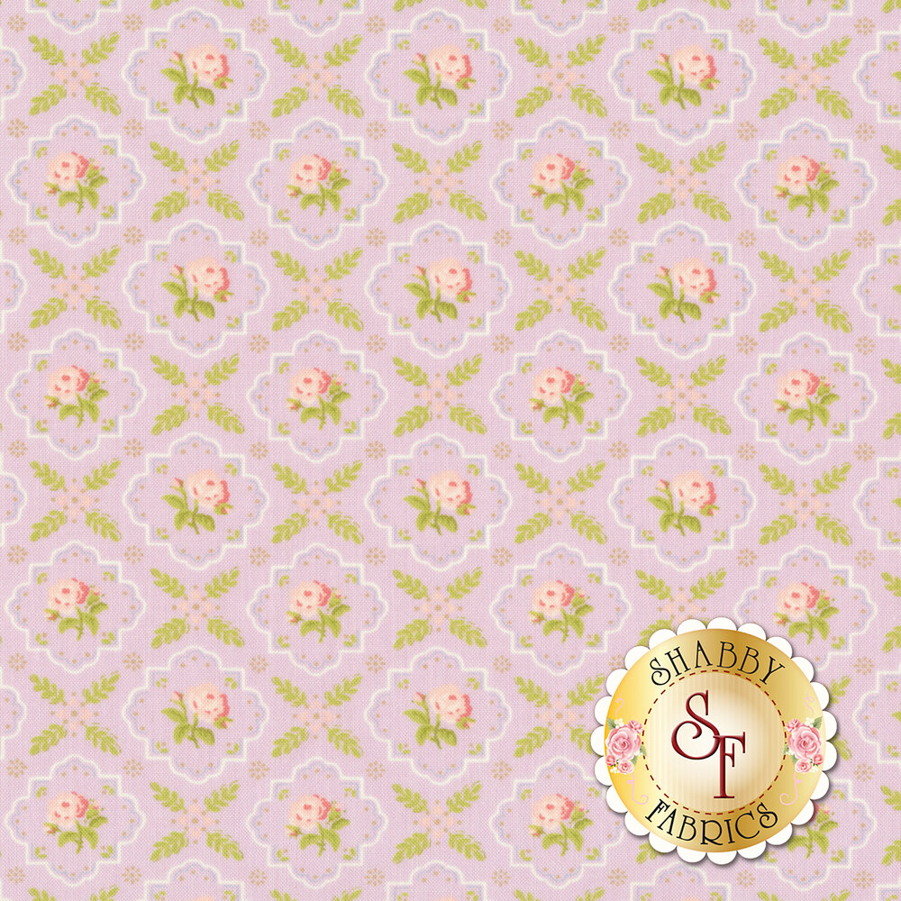 Pink flowers in tiles all over purple | Shabby Fabrics