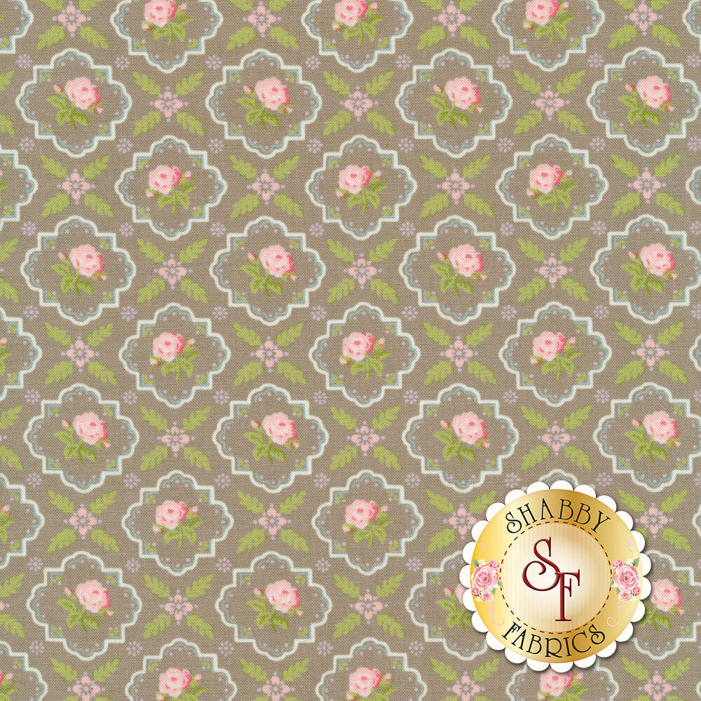 Pink flowers in tiles all over taupe | Shabby Fabrics