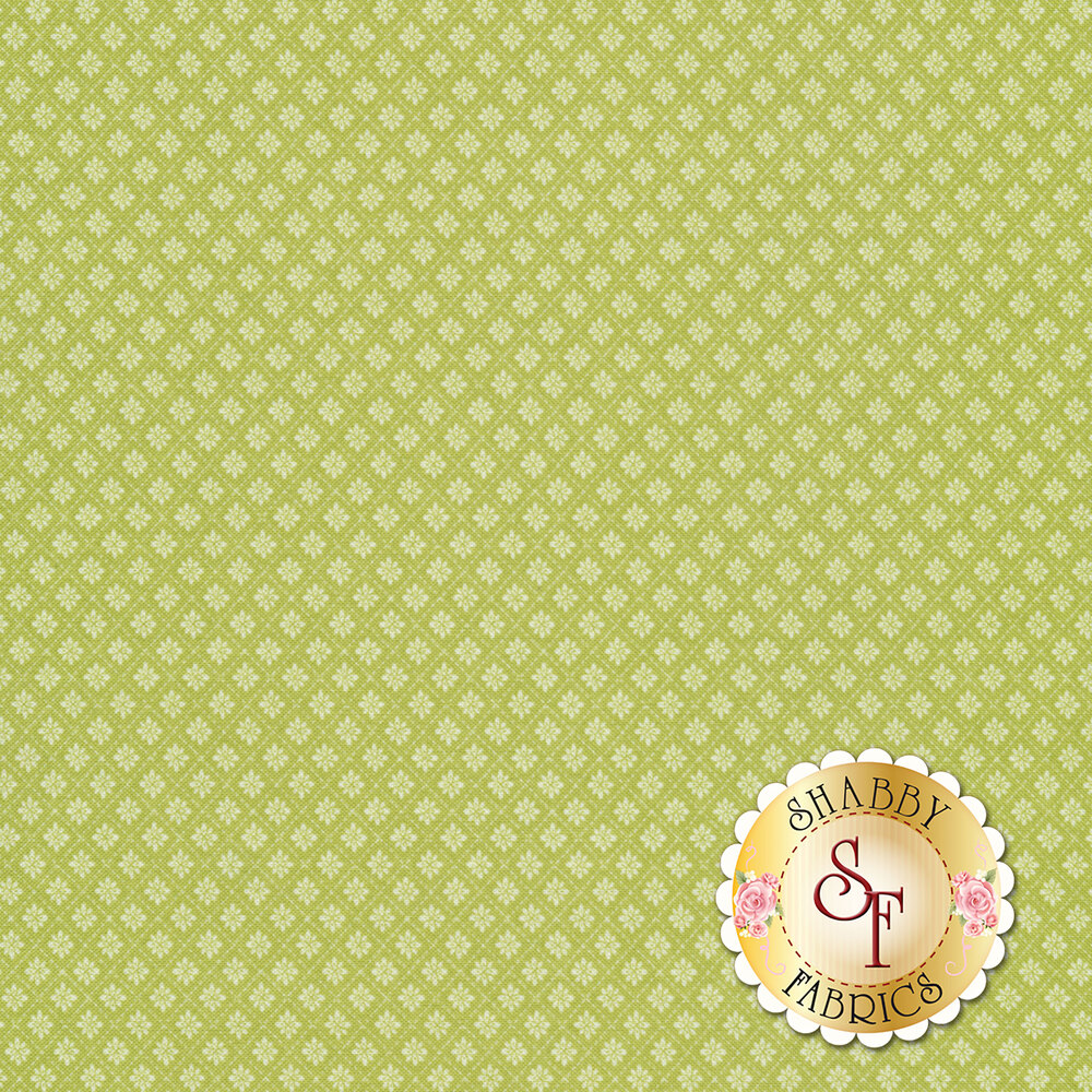 Small floral tile design on green | Shabby Fabrics