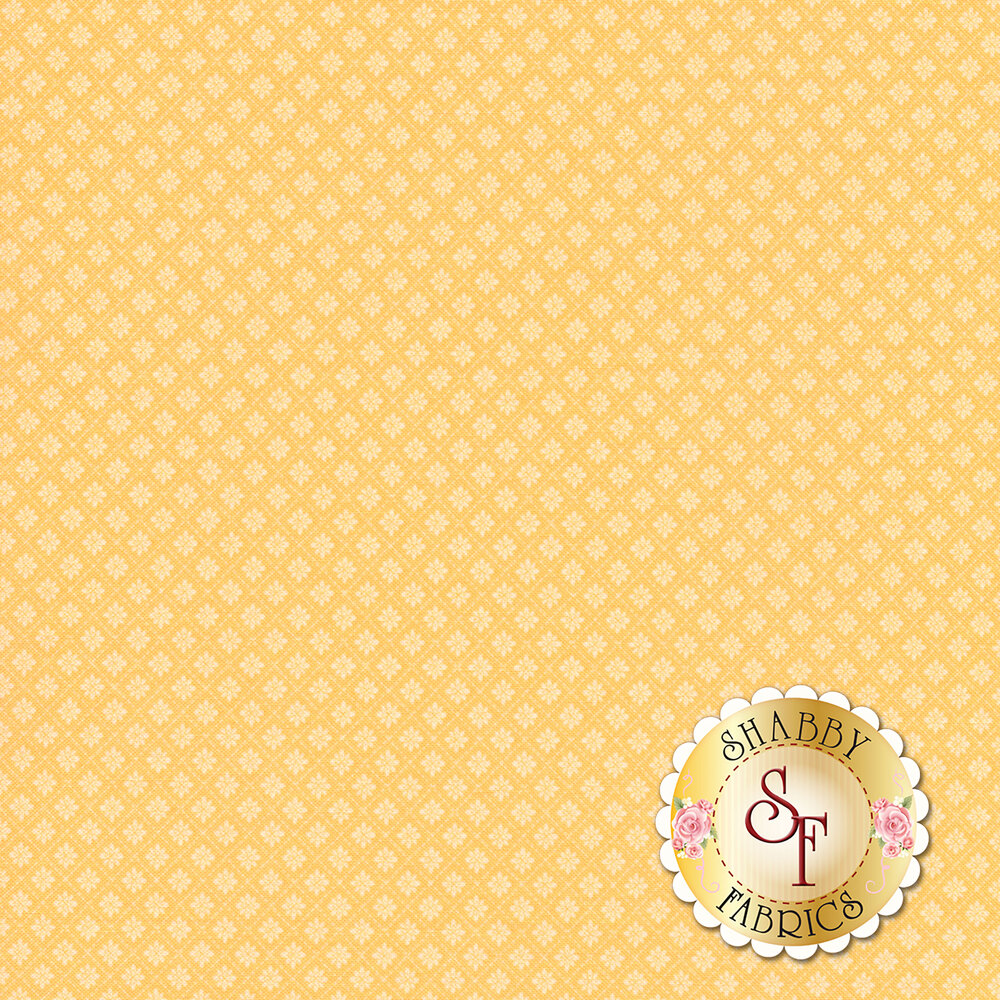 Small floral tile design on yellow | Shabby Fabrics