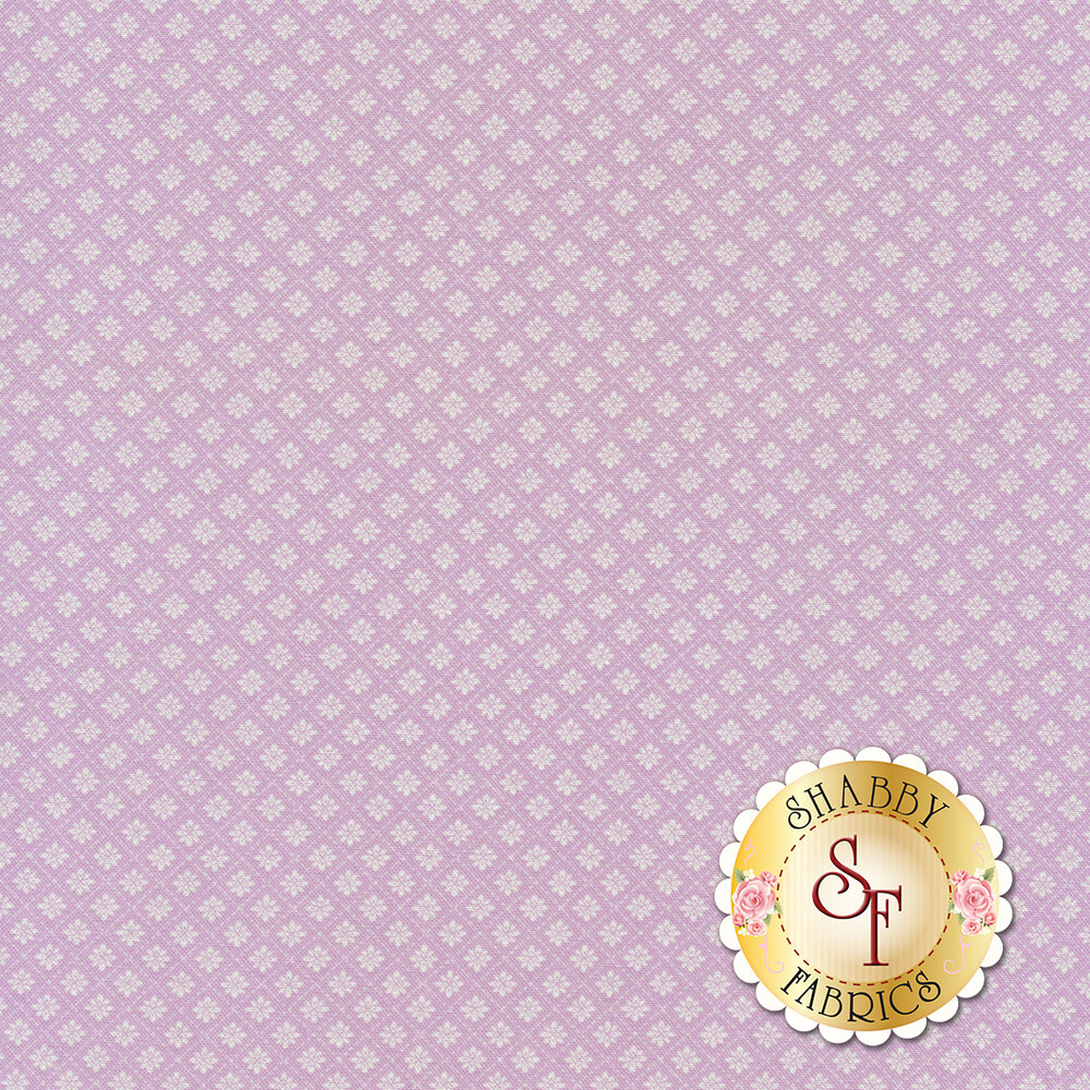 Small floral tile design on purple | Shabby Fabrics