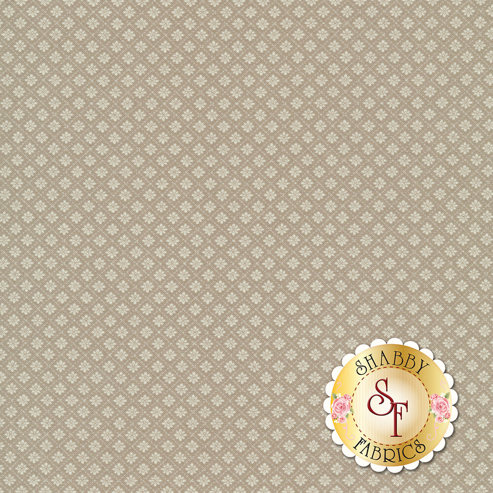 Small floral tile design on taupe | Shabby Fabrics
