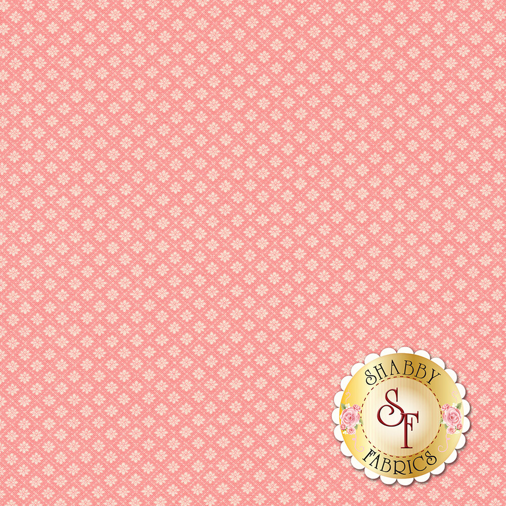 Small floral tile design on pink | Shabby Fabrics