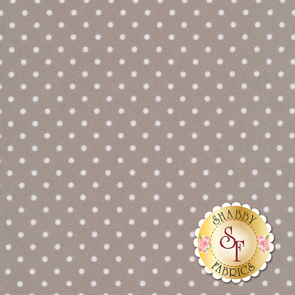 White polka dots on a light grey flannel | Shabby Fabrics