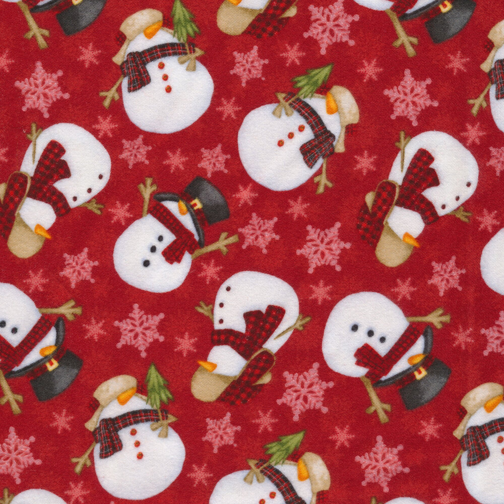 Tossed snowmen and snowflakes all over red | Shabby Fabrics