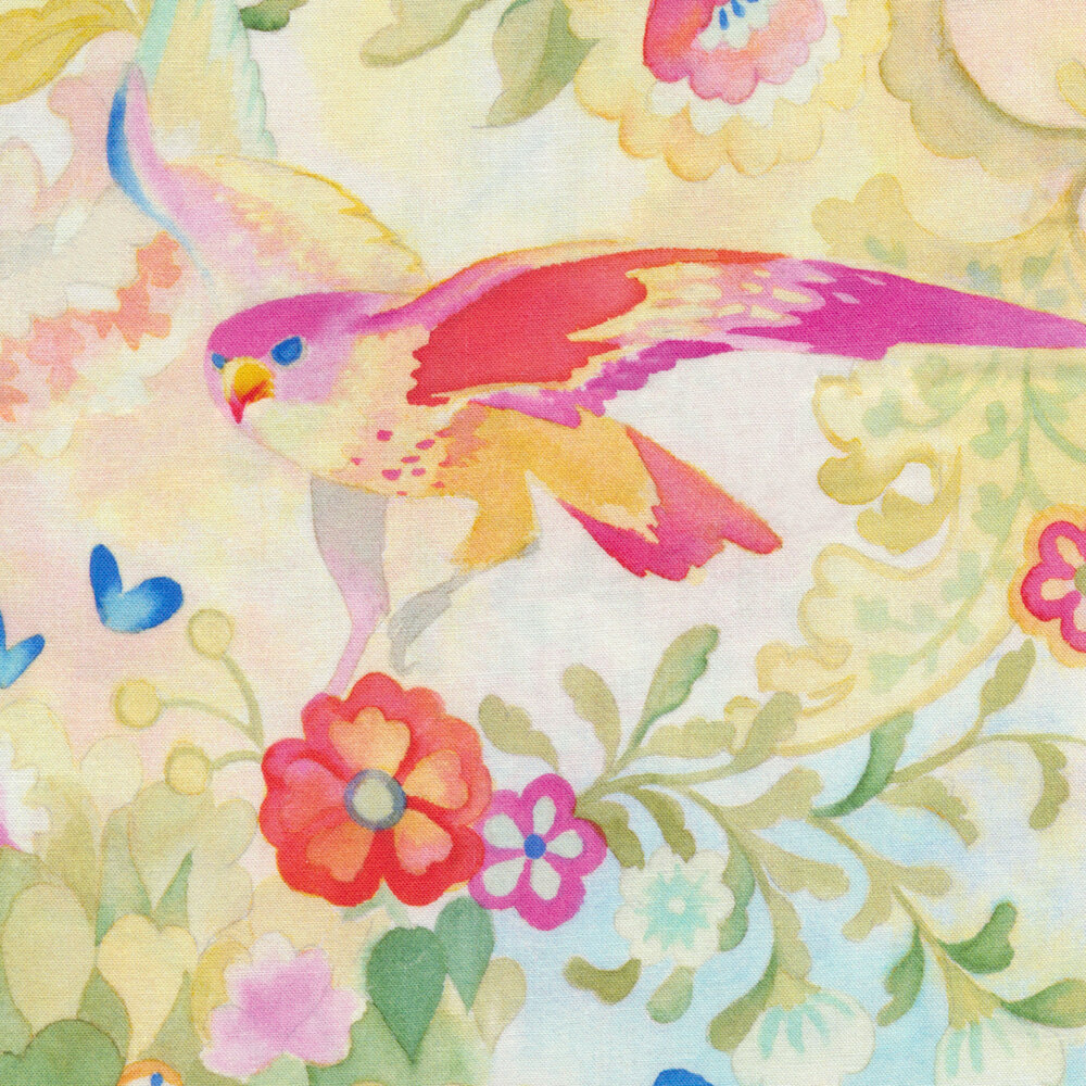 Pink/yellow bird with red flowers on colorful background | Shabby Fabrics