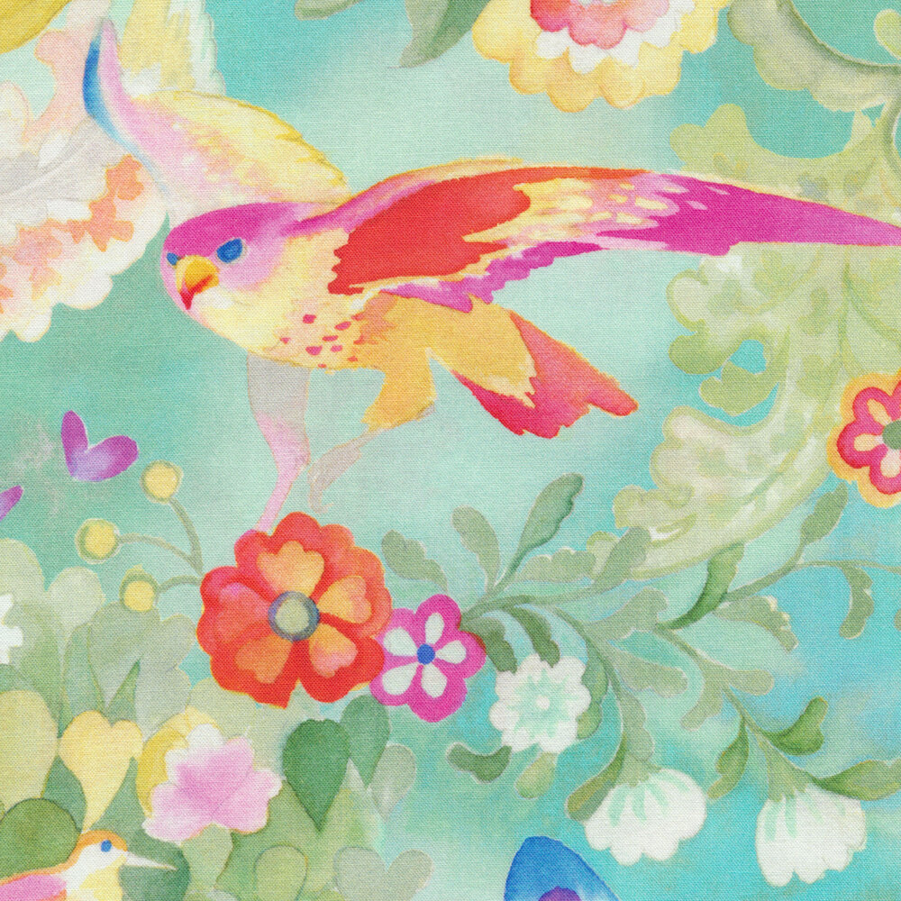 Pink/yellow bird with red/pink/yellow flowers on blue background | Shabby Fabrics