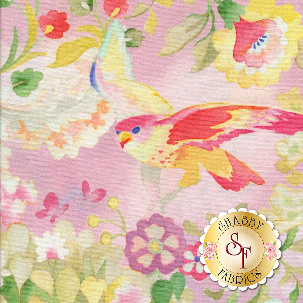 Pink/yellow bird with red/pink/yellow flowers on pink background | Shabby Fabrics