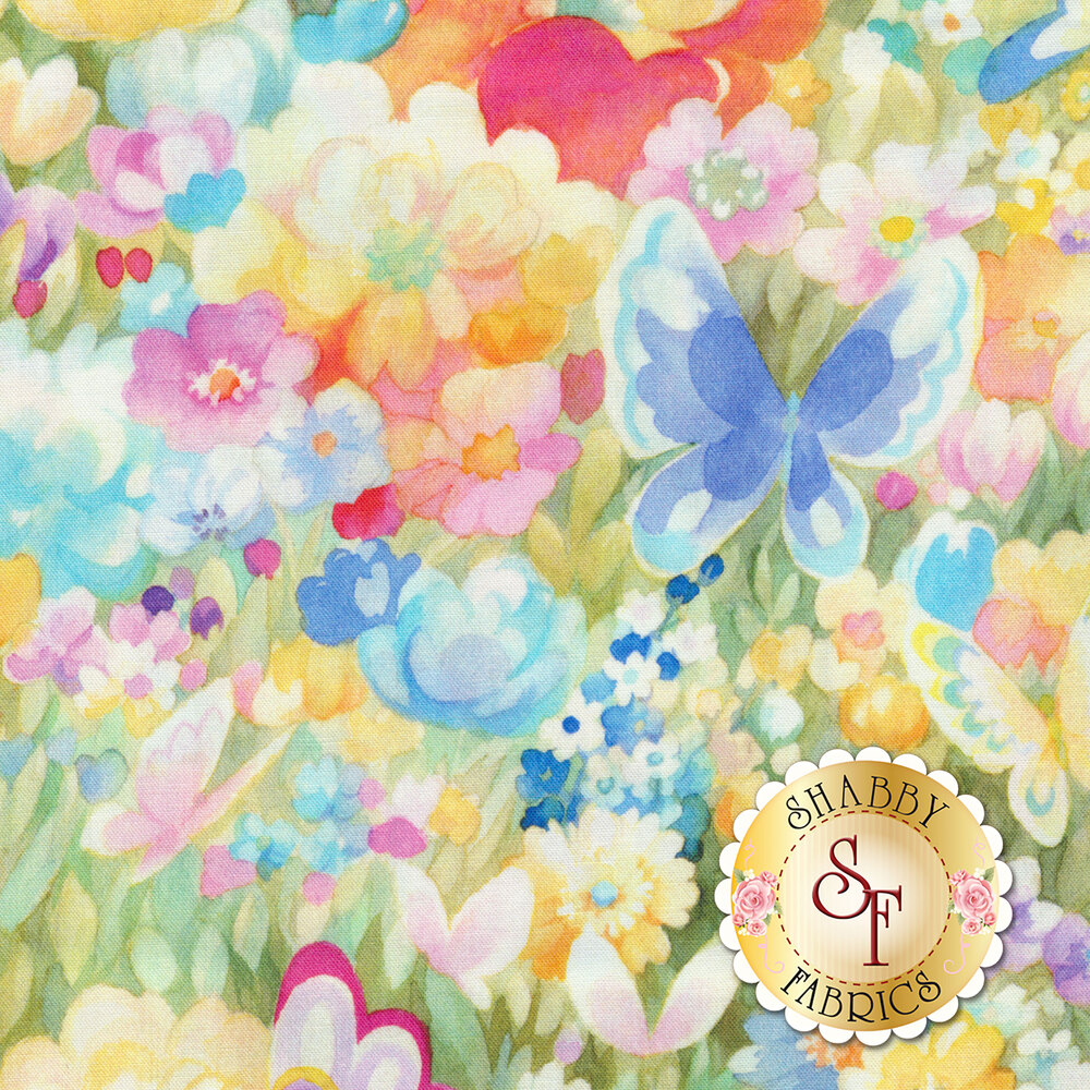 Butterflies flying in meadow of multicolored flowers | Shabby Fabrics