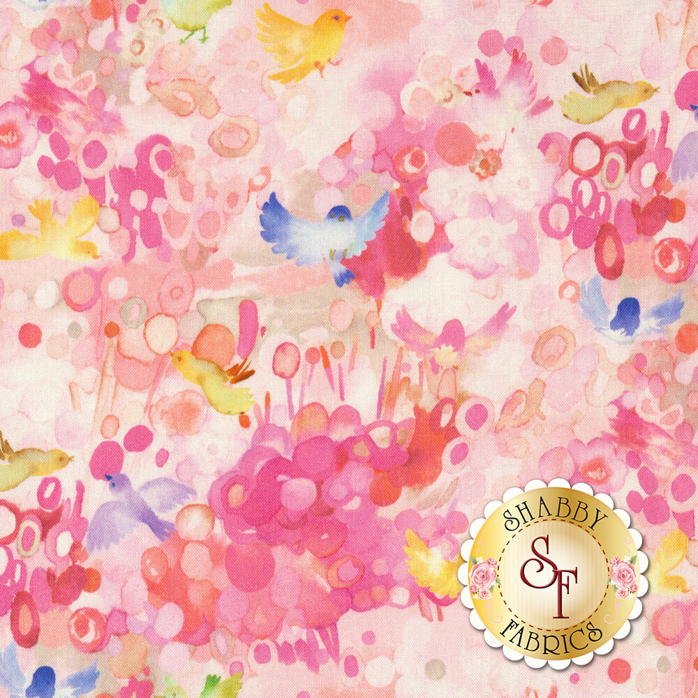 Small birds flying on colorful pink background | Shabby Fabrics