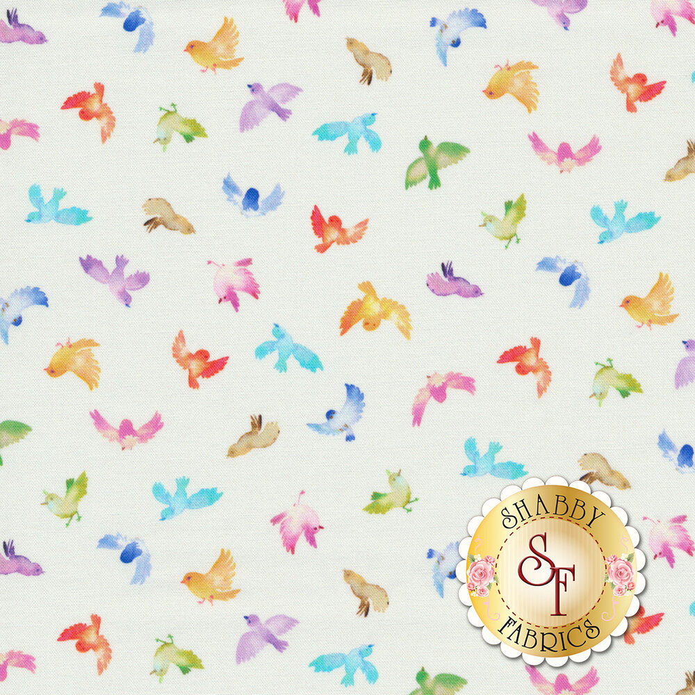 Small multicolored birds on white | Shabby Fabrics