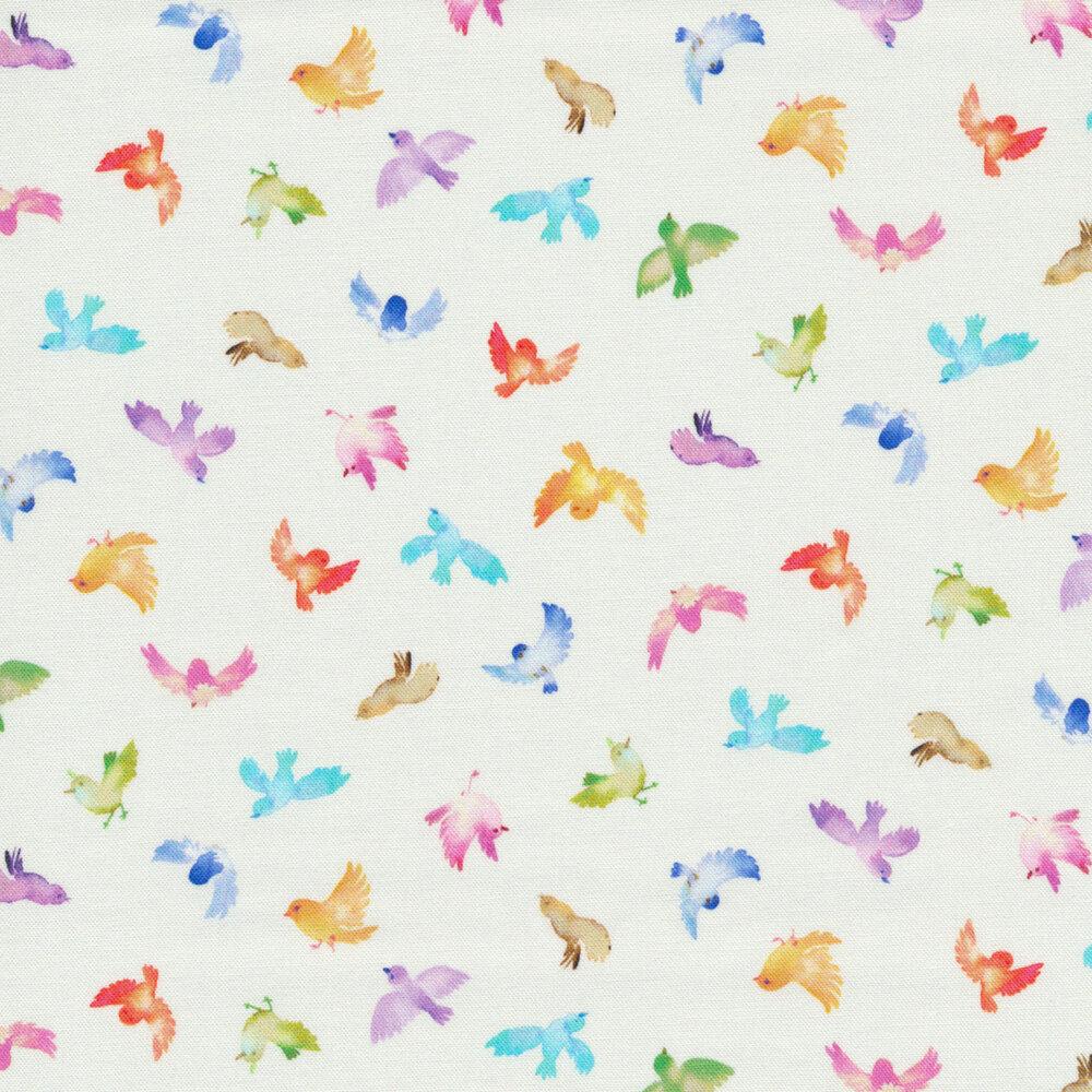 Small multicolored birds on white | Shabby Fabrics