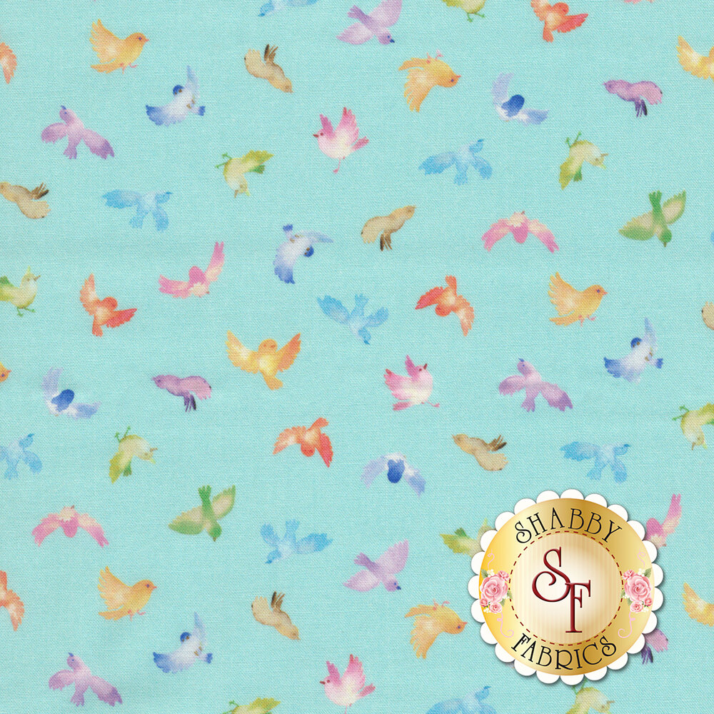 Small multicolored birds on light blue | Shabby Fabrics