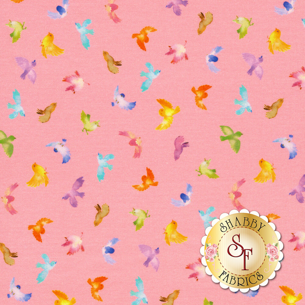 Small multicolored birds on pink | Shabby Fabrics