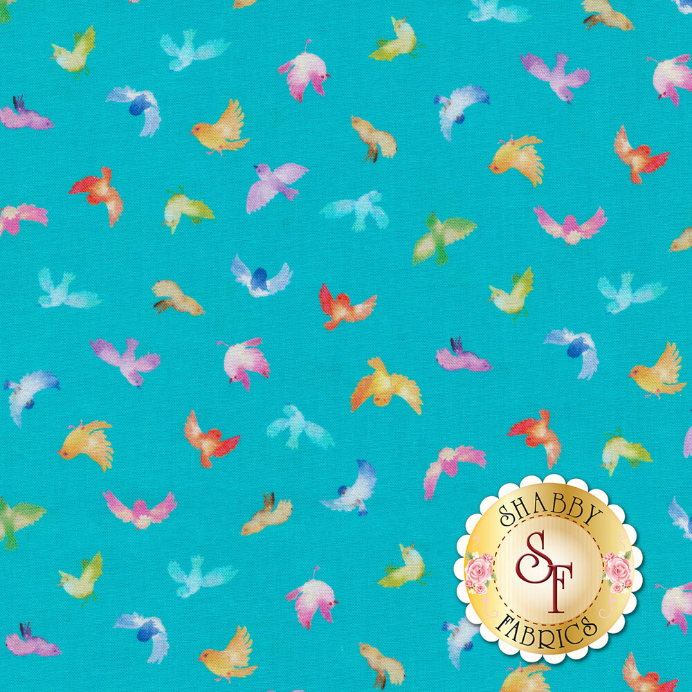 Small multicolored birds on blue | Shabby Fabrics