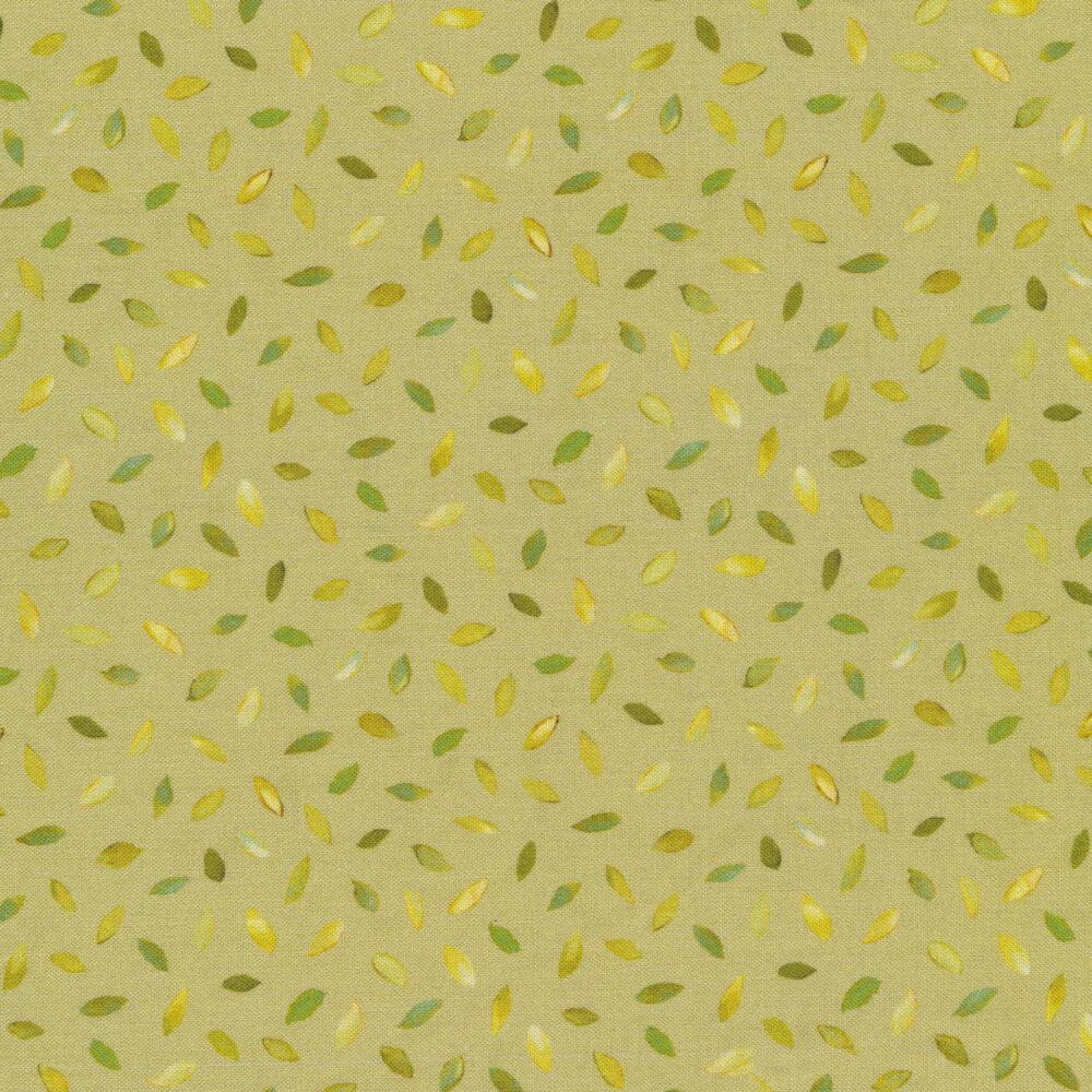Small tonal leaves all over green   Shabby Fabrics