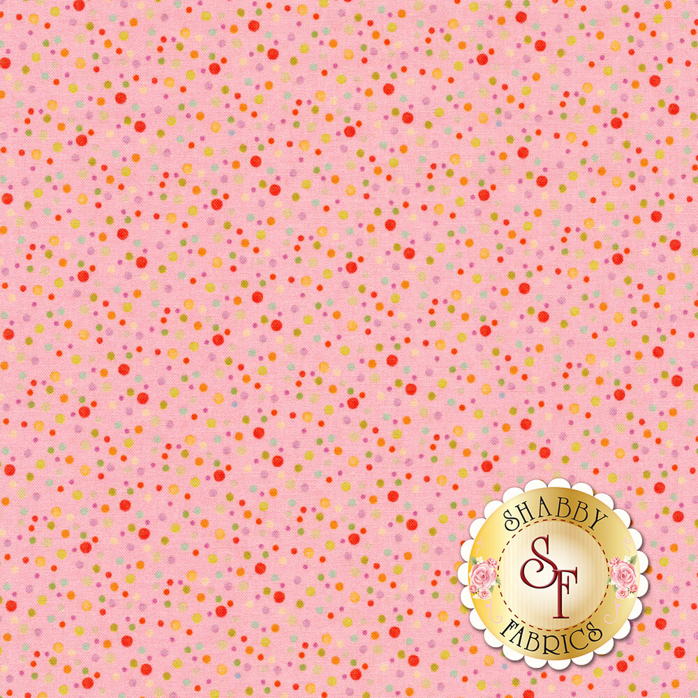 Small multicolored dots all over pink | Shabby Fabrics