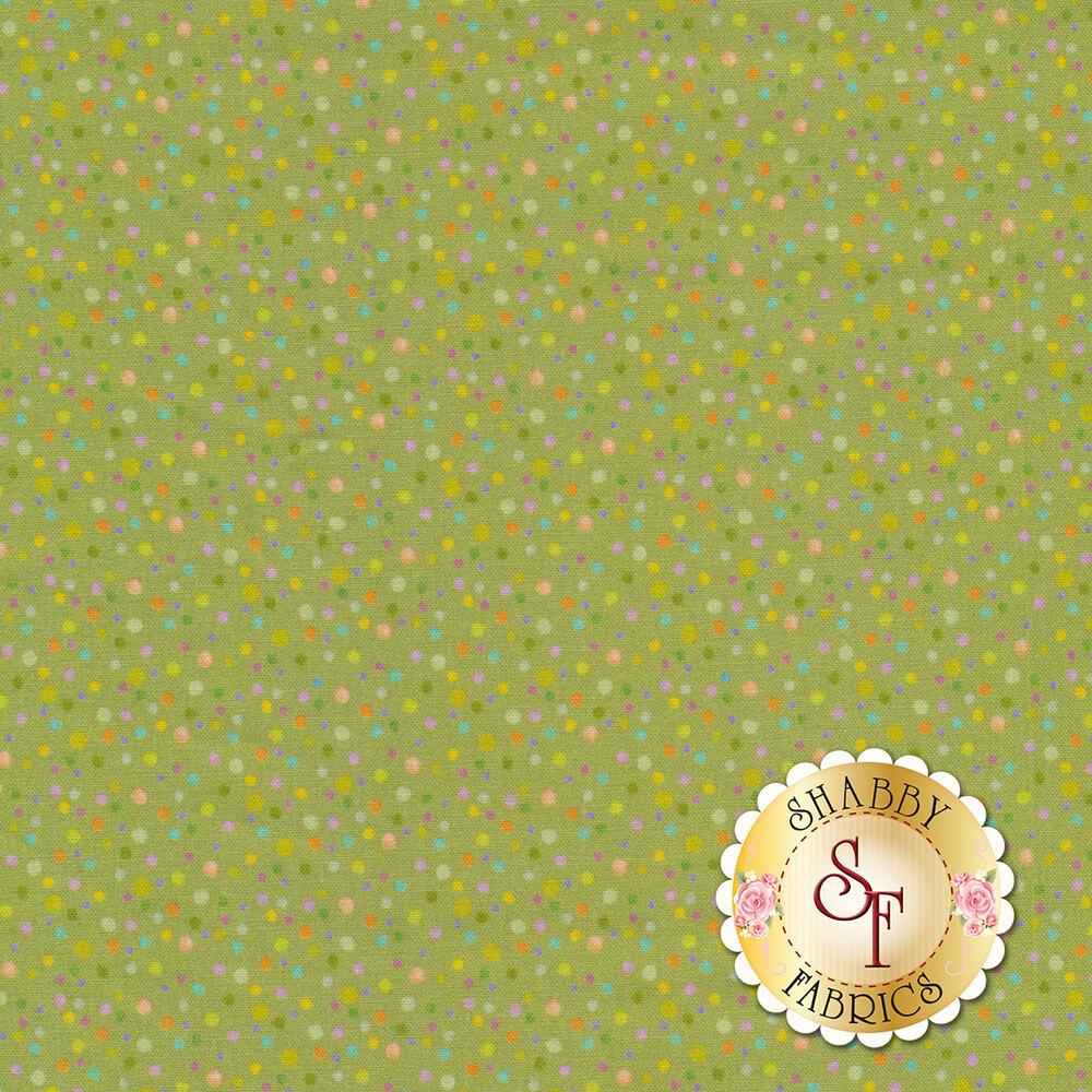 Small multicolored dots all over green | Shabby Fabrics