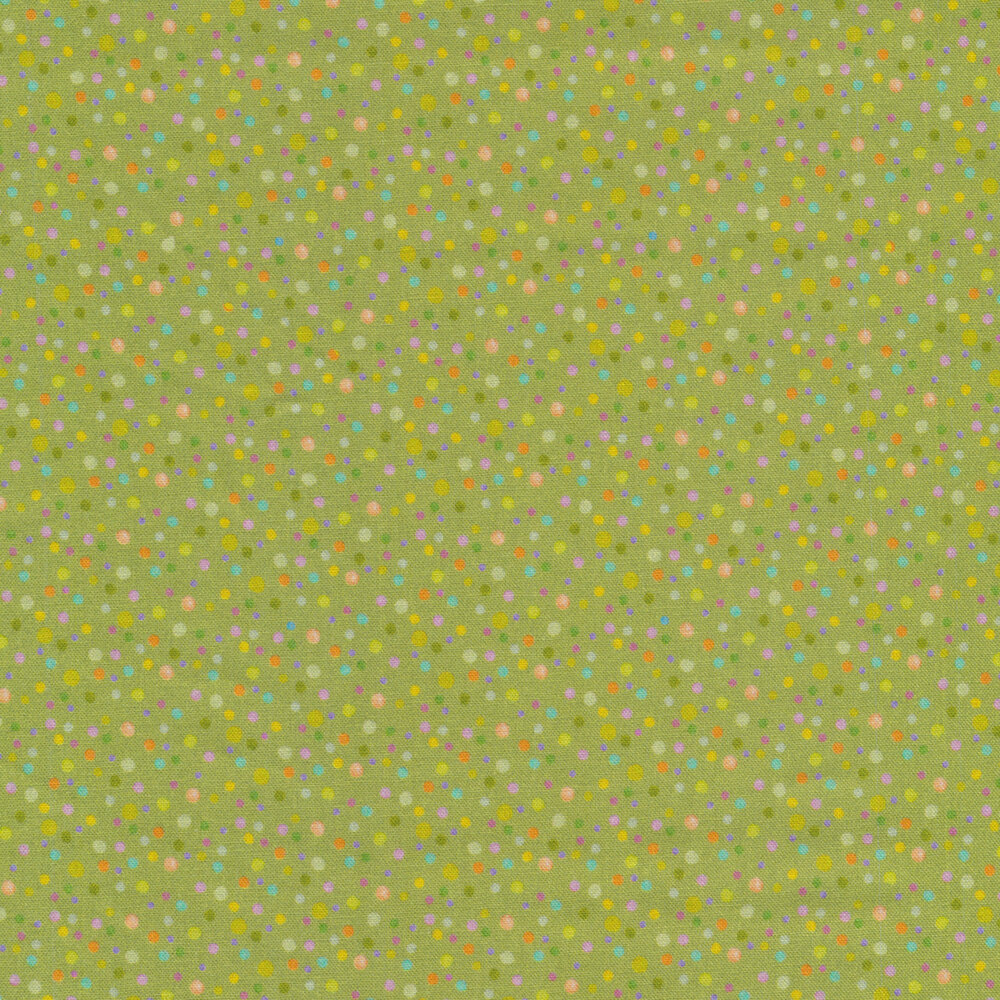 Small multicolored dots all over green | Shabby Fabrics