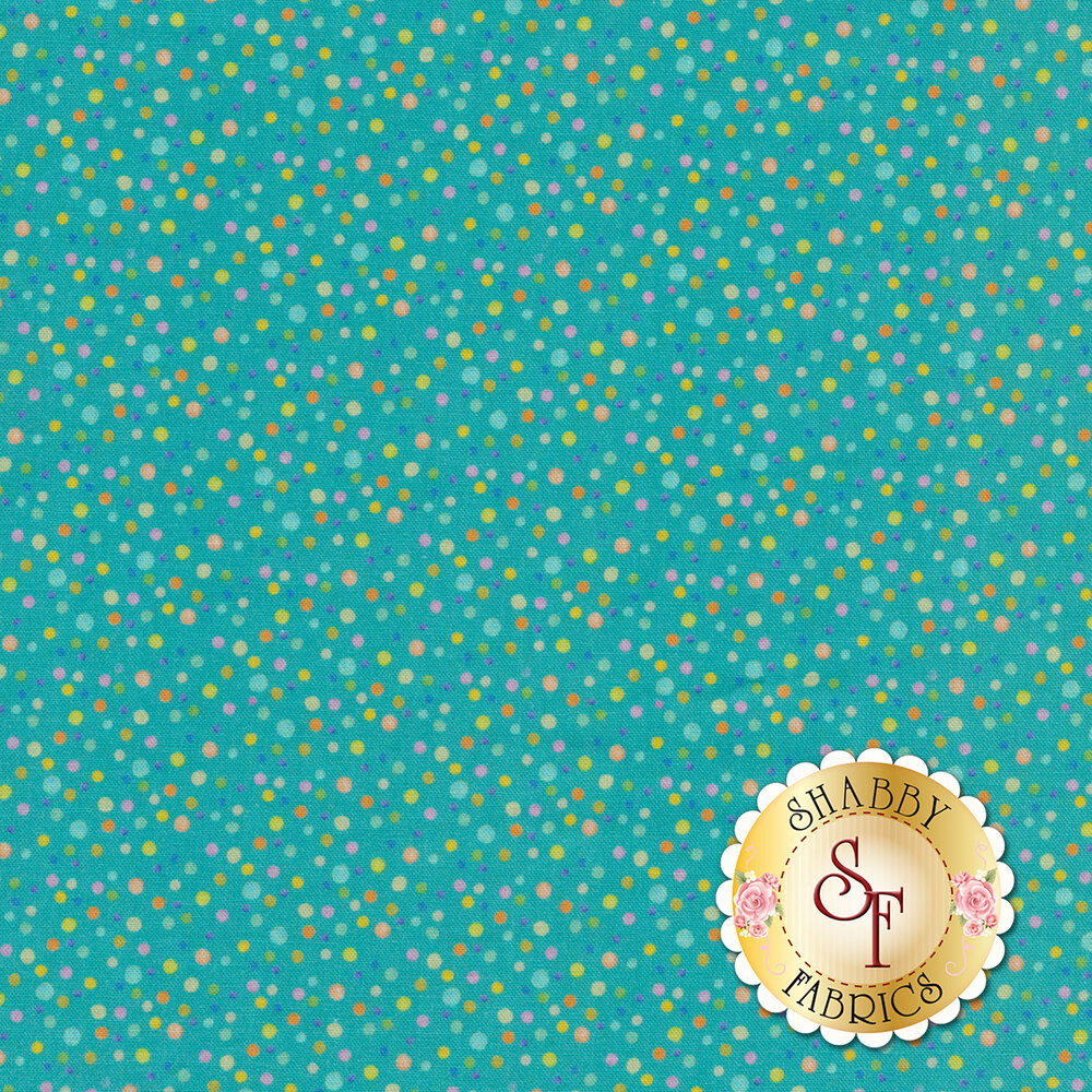 Small multicolored dots all over blue | Shabby Fabrics