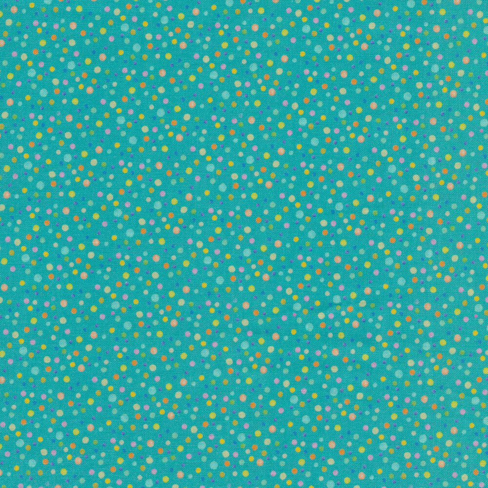Small multicolored dots all over blue | Shabby Fabrics