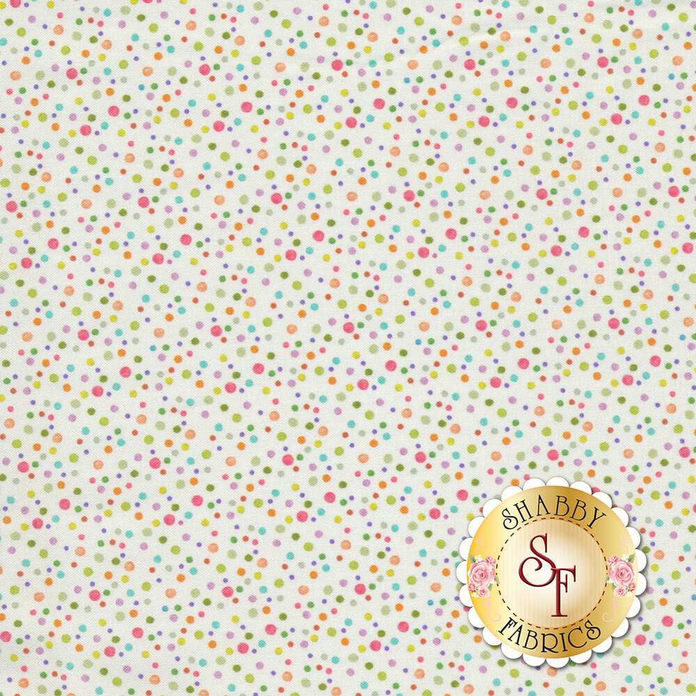 Small multicolored dots all over white | Shabby Fabrics
