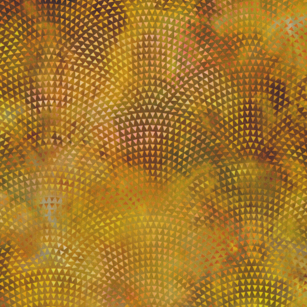 Small triangles in a scalloped pattern on an orange mottled background | Shabby Fabrics