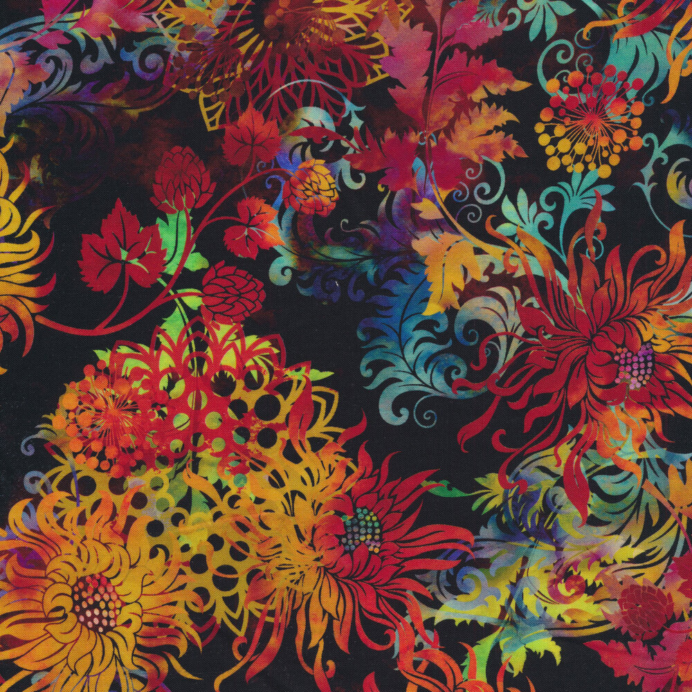 Beautiful multi colored flowers, leaves, and vines on a black background | Shabby Fabrics
