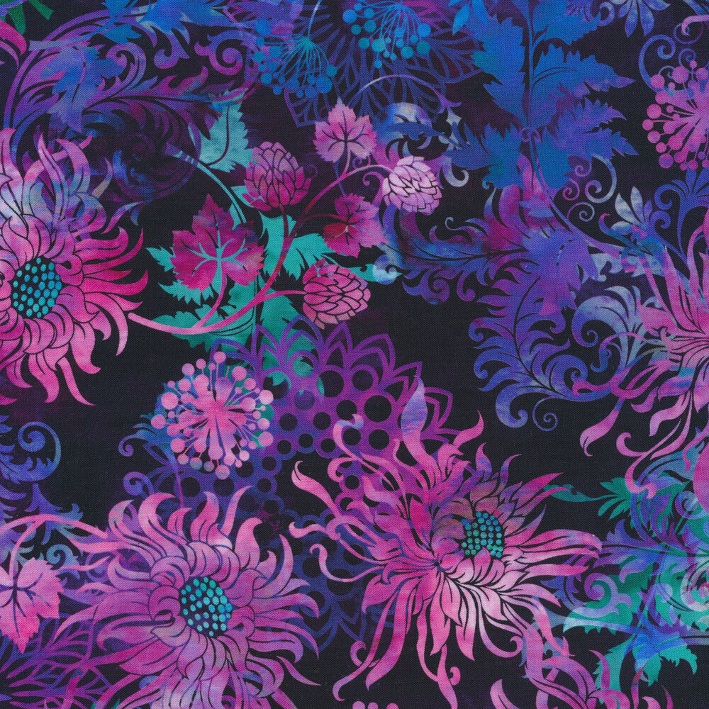 Beautiful purple and blue flowers, leaves, and vines on a black background | Shabby Fabrics