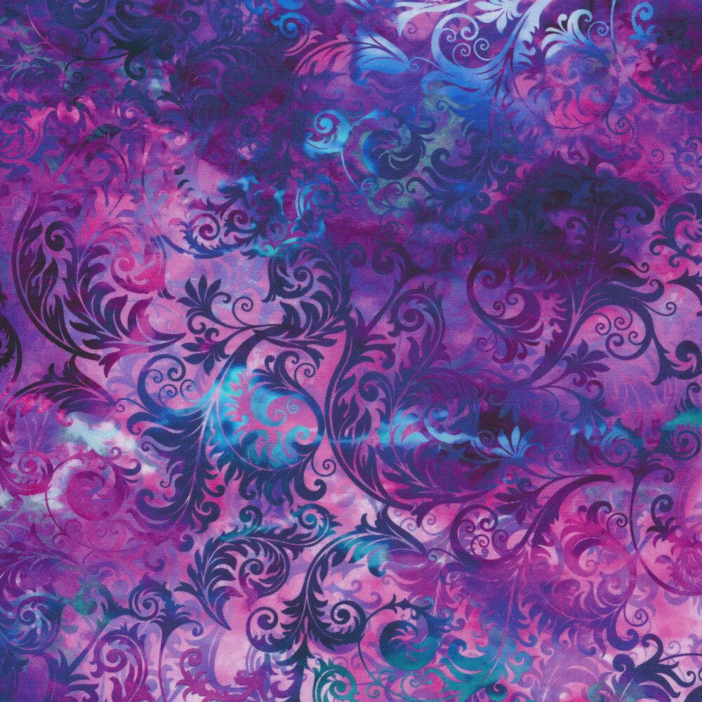 Multi colored swirls and scrolls on a purple mottled background | Shabby Fabrics