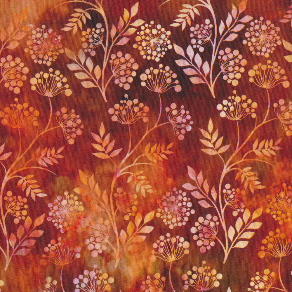 Yellow and cream sprigs on an orange and red mottled background | Shabby Fabrics