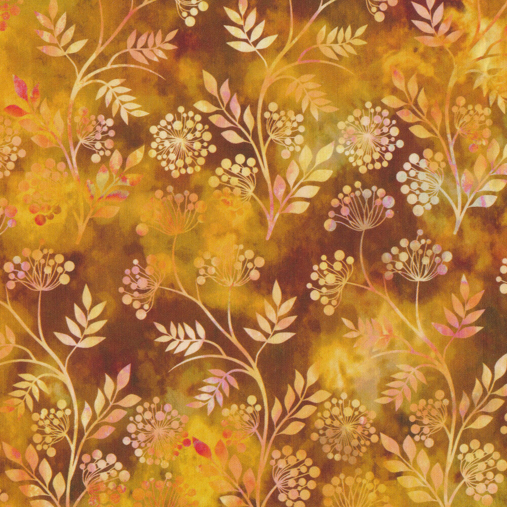 Multi colored sprig outlines on a mottled orange background | Shabby Fabrics