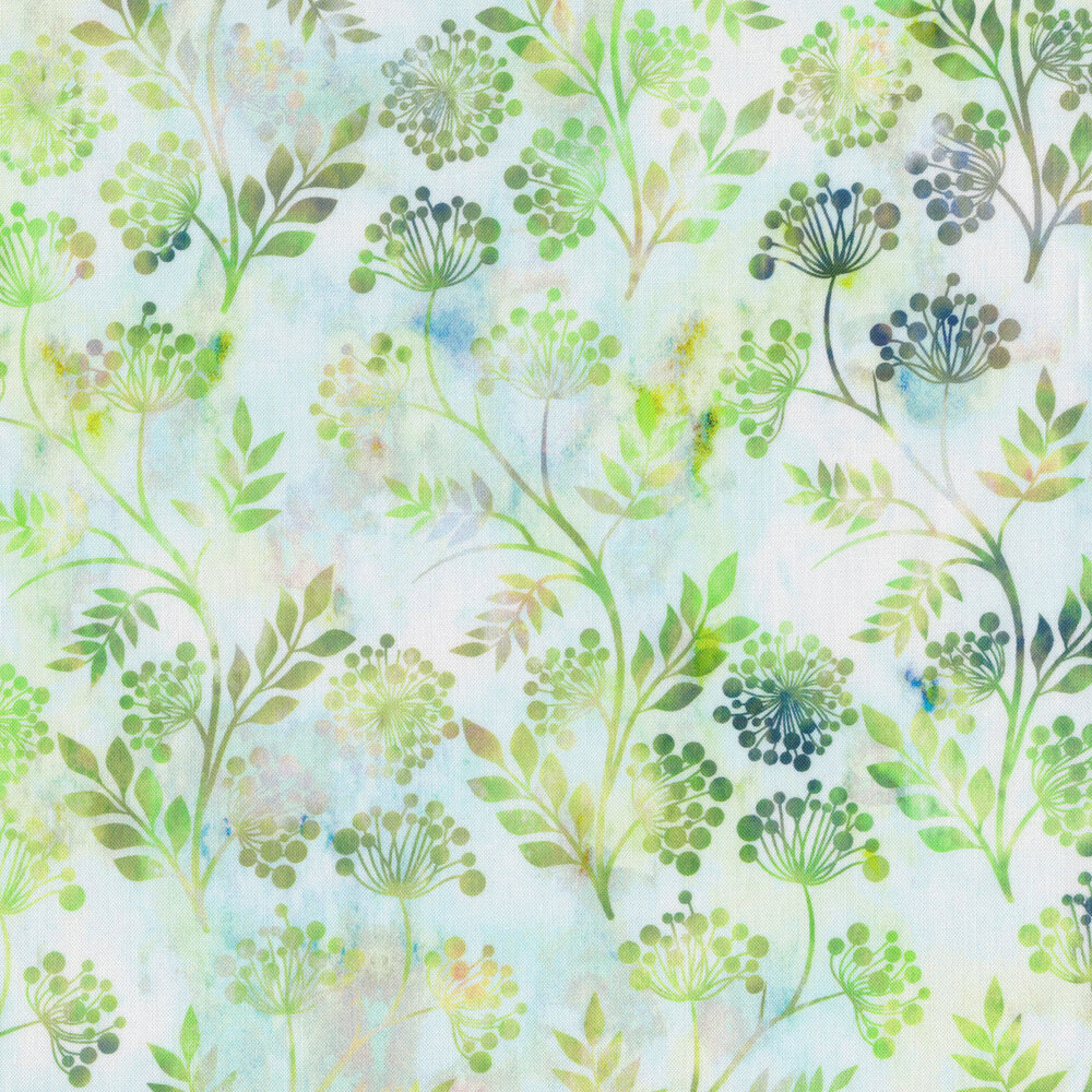 Multi colored sprig outlines on a mottled green mint background | Shabby Fabrics