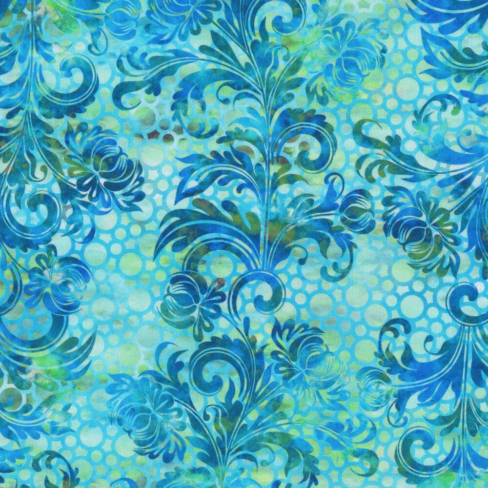 Stripes of dark blue swirls and scrolls on a dotted aqua background   Shabby Fabrics