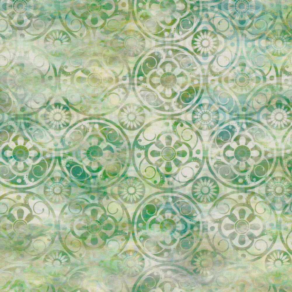 Mottled white and green fabric with green medallions | Shabby Fabrics