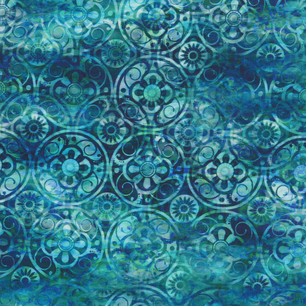 Mottled blue and teal fabric with dark blue medallions | Shabby Fabrics