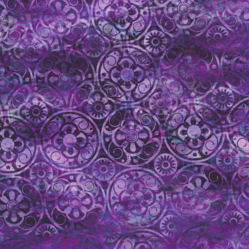 Tonal light purple mottled background with dark purple medallions | Shabby Fabrics