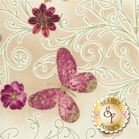 Floral Impressions 8672M-07 Pressed Butterfly Floral Beige by Kanvas Studio for Benartex Fabrics