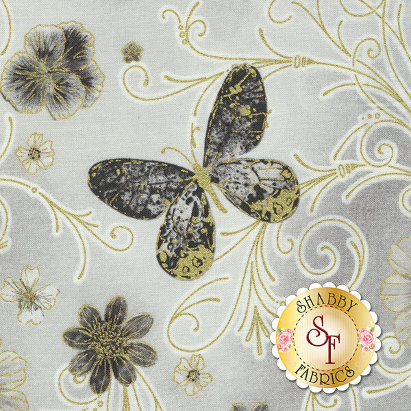Floral Impressions 8672M-11 Pressed Butterfly Floral Light Gray by Kanvas Studio for Benartex Fabrics
