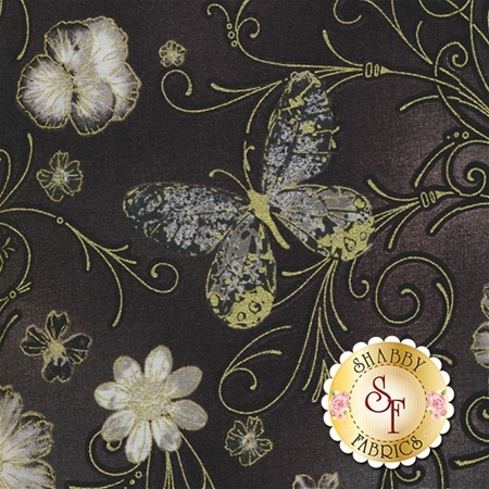 Floral Impressions 8672M-13 Pressed Butterfly Floral Dark Gray by Kanvas Studio for Benartex Fabrics