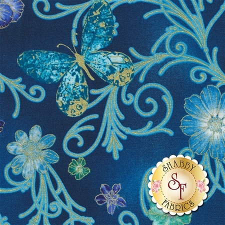 Floral Impressions 8672M-84 Pressed Butterfly Floral Turquoise by Kanvas Studio for Benartex Fabrics