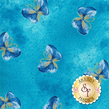 Floral Impressions 8674M-84 Butterfly Wash Turquoise by Kanvas Studio for Benartex Fabrics
