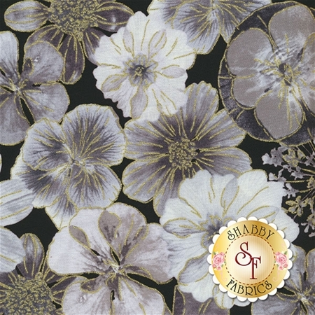 Floral Impressions 8676M-13 Impressions Floral Dark Gray by Kanvas Studio for Benartex Fabrics