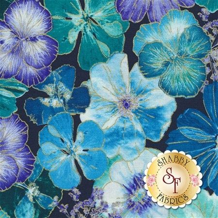 Floral Impressions 8676M-55 Impressions Floral Navy by Kanvas Studio for Benartex Fabrics